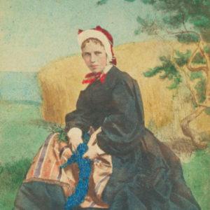 CDV folklore Danemark 1870 HANSEN and Schou - Girl of Samsoe Island - Vintage Albumen Print CDV format