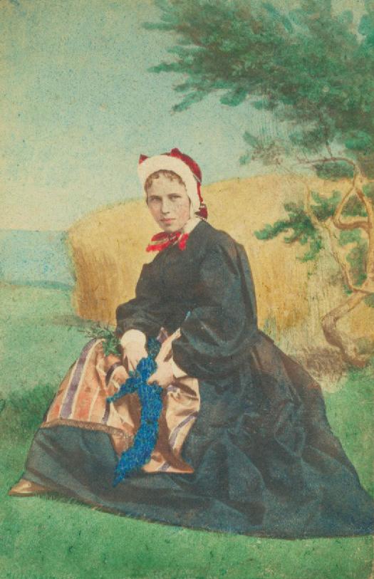 CDV folklore Danemark 1870 HANSEN & Schou - Fille de l'île Samsoe - Tirage Albuminé Original d'Époque format CDV