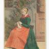 Photograph Folklore in Danemark by Handsen & Schou. peasant girl of Seeland. Vintage Albumen Print.