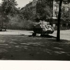 Liberation Paris Sorbonne SEEBERGER 1944 A Tank. Vintage Silver Print 6.7x6.7 in