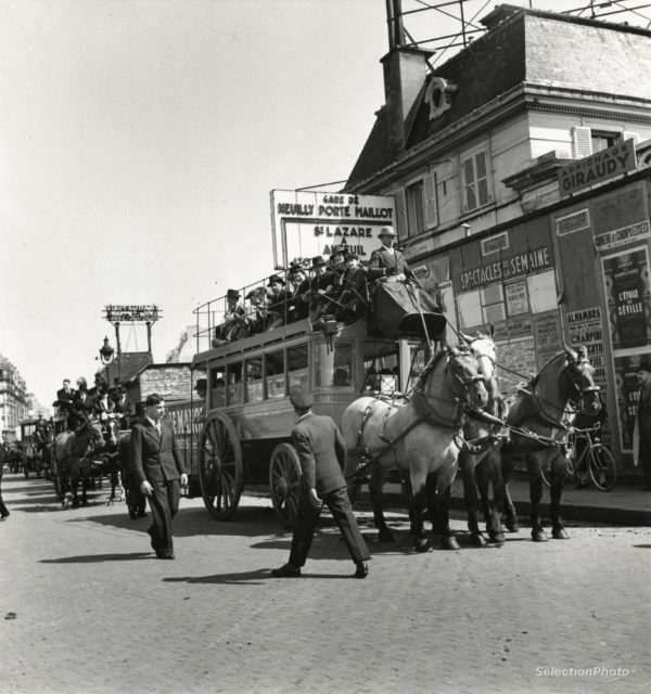 André ZUCCA PARIS - Omnibus Gare de la Porte MAILLOT 1941 - Tirage Original 18x19cm