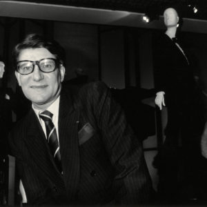Photograph Yves SAINT LAURENT at the Fashion Museum 1986 Vintage Print 8.7x6in