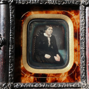 DAGUERREOTYPE 1/9th - Portrait of Young woman and her missal - 2.3x2.7in