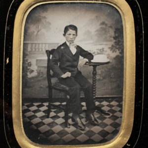 AMBROTYPE Second Empire frame c. 1860 - Checkerboard Child 4x3in
