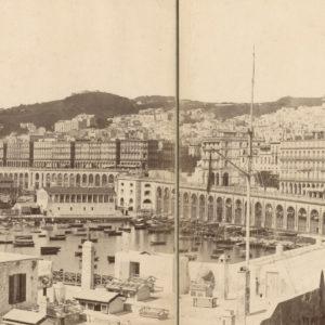 Panoramique du Port d'ALGER - Portier c 1870 - Tirage Albuminé Original 140x19cm