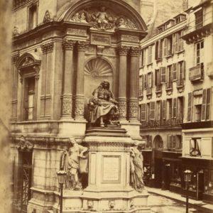 Photographie Ancienne Place Molière PARIS - Albumine originale 1870 - 19 x 25cm